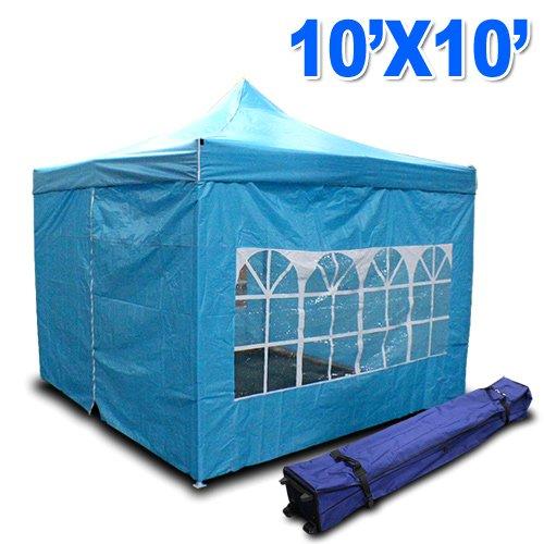 New MTN Gearsmith Heavy Duty Ez Canopy Pop up Tent Canopy Shade 10 X 10′ Gazebo with 4 Walls Skyblue, Outdoor Stuffs