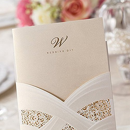 Doris Home Vertical Laser Cut Wedding Invitation with White Hollow Flora 100 pcs by Doris Home (Image #6)