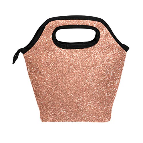 (WOZO Rose Gold Glitter Insulated Lunch Bag Tote Bag Cooler Lunchbox Handbag for Outdoors School Girl Boy)
