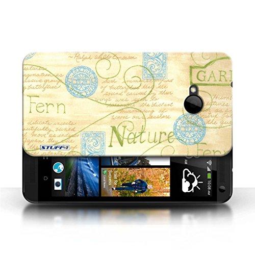 Etui / Coque pour HTC One/1 M7 / Orange / Bleu conception / Collection de Motif Nature