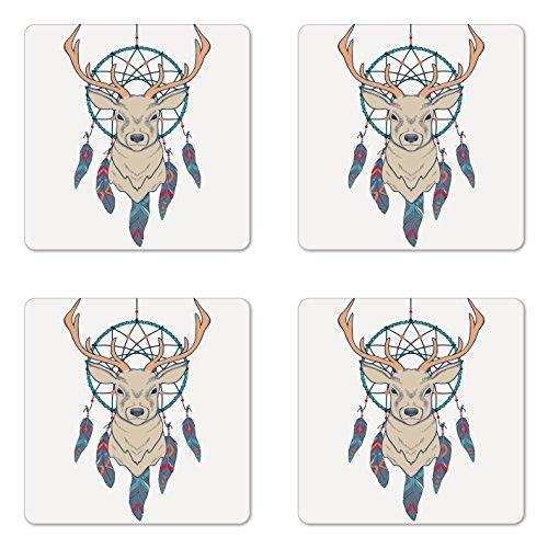 Ambesonne Deer Coaster Set of Four, Roe Deer with Native American Tribal Dreamcatcher Ethnic Folk Art Style Sketch, Square Hardboard Gloss Coasters for Drinks, Beige Teal ()