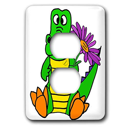 3dRose All Smiles Art Animals - Cute Funny Baby Alligator with Purple Daisy Flower Cartoon - Light Switch Covers - 2 plug outlet cover (lsp_288205_6)