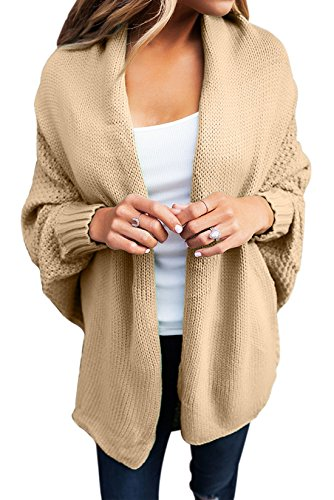 Women's Casual Long Dolman Sleeve Draped Open Front Cozy Loose Knit Cardigan Sweaters Oversized Outwear Coat Khaki S 4 6
