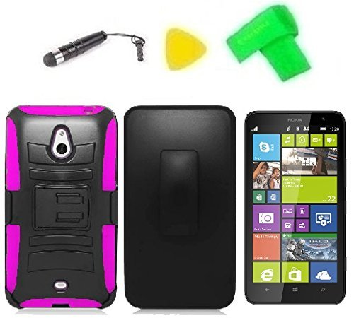 Belt Clip Holster w Kickstand Heavy Duty Hybrid Phone Case Cover Cell Phone Accessory + Extreme Band + Stylus Pen + LCD Screen Protector + Yellow Pry Tool for Nokia Lumia 1320 Batman (Belt Clip Holster Black/Pink)