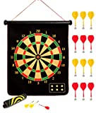 kuiimsvp Magnetic Dart Board,Safety Gift for Kids Adults Indoor Outdoor Double Sided Dartboard Games Set 12 Magnetic Darts for Party Leisure Sports Games Gifts