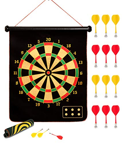 kuiimsvp Magnetic Dart Board,Safety Gift for Kids Adults Indoor Outdoor Double Sided Dartboard Games Set 12 Magnetic Darts for Party Leisure Sports Games Gifts (17 inch)