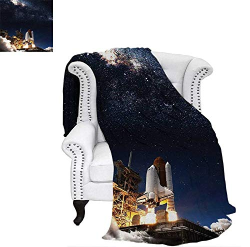 Throw Blanket Shuttle on Take Off Discovery Mission to Explore Galaxy Spaceship Solar Adventure Warm Microfiber All Season Blanket for Bed or Couch 60