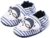 bettyhome Cotton Unisex Baby Newborn Stripes Glasses Pattern Soft Sole Infant Toddler Prewalker Sneakers (0-1 Year) (Insole Length:120mm, Blue)