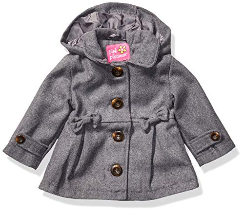 Pink Platinum Baby Girls Wool Coat with Cute Bow Applique, Charcoal, 24M