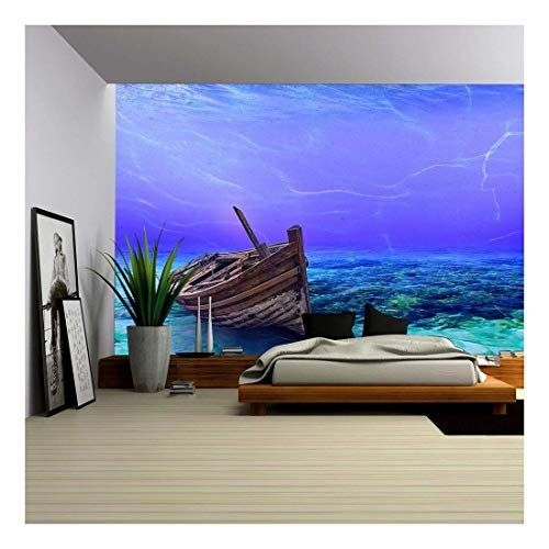 wall26 - Underwater Wreck Background in The Sea - Removable Wall Mural | Self-Adhesive Large Wallpaper - 66x96 ()