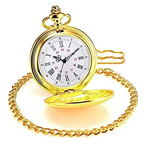 Classic Vintage Easy to Red Watches Stainless Steel Quartz Pocket Watch with Beautiful Pocket Watches Box