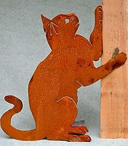 Elegante diseño de jardín Vertical Playing Cat silueta, acero con Rusty pátina