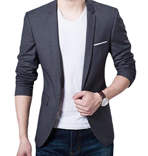 Autumn and Winter New Men's Casual Slim Long-sleeved Shirt (Grey) - 5