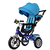 Little Bambino 4 in 1 Canopy Kids Tricycle for Toddler Age 1-6 Years   Trike 'n Ride Bike Push Handle Buggy Pram (Blue)