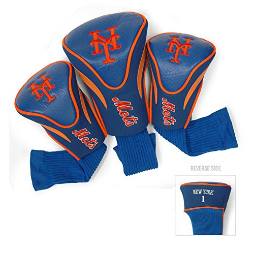 (Team Golf MLB New York Mets Contour Golf Club Headcovers (3 Count), Numbered 1, 3, & X, Fits Oversized Drivers, Utility, Rescue & Fairway Clubs, Velour lined for Extra Club Protection)