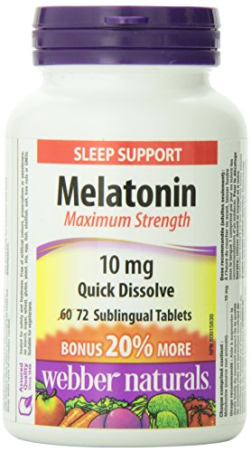 Webber Naturals Melatonin Maximum Strength Easy Dissolve Sublingual Tablet, Peppermint, 10mg
