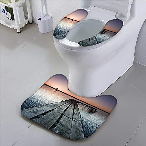 Sunset Pinecones - UHOO2018 Toilet seat Boat Lake Jetty with Warm Sunset Suit for The Toilet