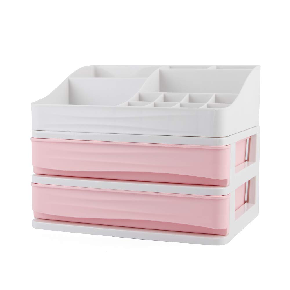 YOUTH UNION Cosmetic Storage Box Makeup Organizer Multi-Layer Drawer for Bathroom Counter Desktop (Pink, S-2)