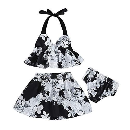 (Toddler Baby Girl Strap Floral Skirts Set Ruffle Halter Backless Crop Top+Tutu Princess Skirts+Shorts Summer Clothes (Black, 3-4 Years))