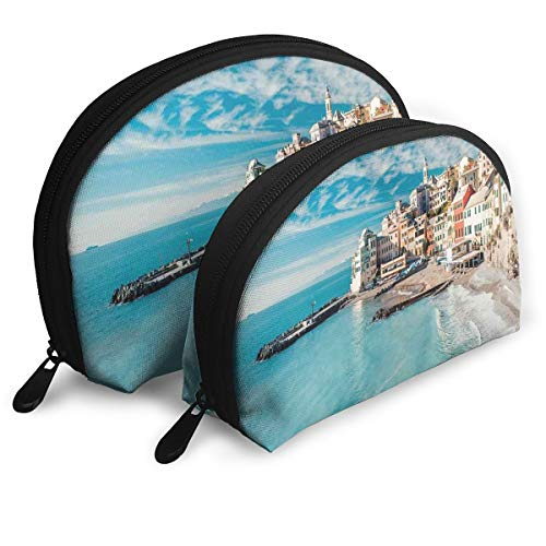 Shell Shape Makeup Bag Set Portable Purse Travel Cosmetic Pouch,Panorama Of Old Italian Fish Village Beach Old Province Coastal Charm Image,Women Toiletry Clutch