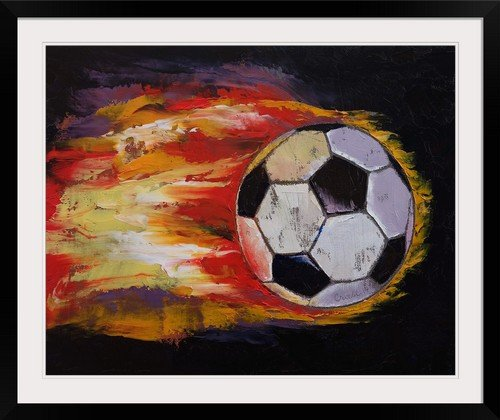 GreatBIGCanvas ''Soccer Ball'' by Michael Creese Photographic Print with Black Frame, 36'' x 29'' by greatBIGcanvas