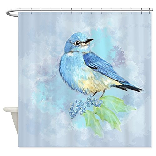 Watercolor Bluebird Fabric Shower Curtain