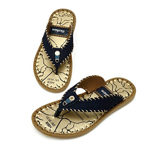 Tda Slip-on Para Hombre Comfort Leather Summer Slippers Casual Stitching Beach Flip Flops Azul