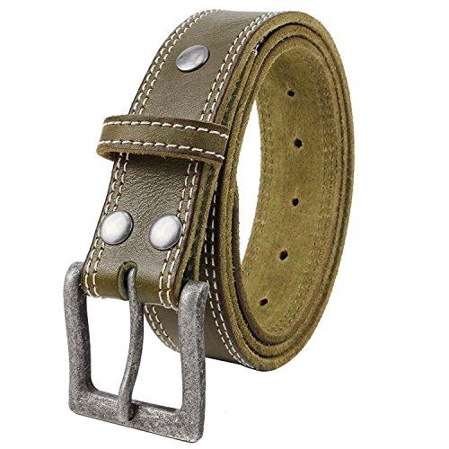Olive Genuine Belt (NPET BZ050 Men's Double Stitched Full Grain Genuine Leather Belts(36-38,Olive green + Silver)