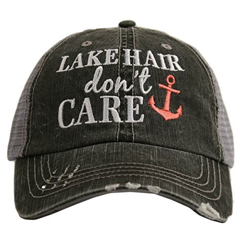 Lake Hair Don't Care Women's Trucker Hat Cap by Katydid (Coral) ()