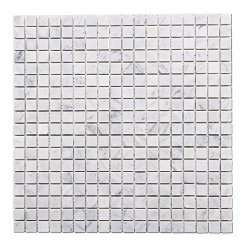Square Marble Mosaic - Diflart Italian White Carrara Marble Mosaic Tile Polished, 5 sheets/box (Square)