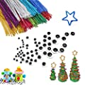 Hekoy 360pcs Sparkly Pipe Cleaners Set Craft Supplies Including 260pcs Glitter Pipe Cleaners Chenille Stems,100pcs Self-Stickings Wiggle Googly Eyes DIY Art Projects Kit