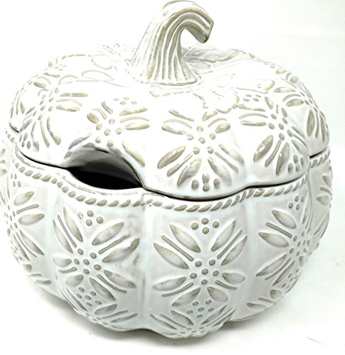 Temp-tations 4 qt Soup Tureen with Lid - Embossed Pumpkin, (Old World Cream)