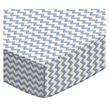 SheetWorld Fitted Oval Crib Sheet (Stokke Sleepi) - Mini Blue Chevron Zigzag - Made In USA - 26 inches x 47 inches (66 cm x 119.4 cm)