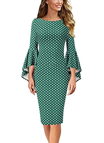 VFSHOW Womens Polka Dot Print Bell Sleeves Cocktail Party Sheath Dress 1668 GRN ()