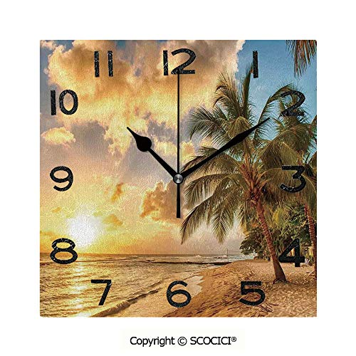 (SCOCICI 8 Inch Square Face Silent Wall Clock Tropic Sandy Beach with Horizon at Sunset and Coconut Palm Trees Summer Photo Unique Contemporary Home and Office Decor )
