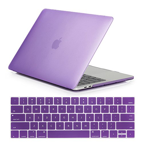 Se7enline 2016/2017 MacBook Pro 13 Case Smooth Soft-Touch Matte Frosted Plastic Hard Cover for MacBook Pro 13 A1706/A1708 with/without Touch Bar Touch ID with Keyboard Cover, Light Purple
