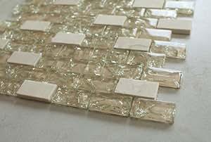 "Beige Cleft Glass & Beige Marble Mosaic Tile - Green, Blue & Beige 1""x2"" Glass Tile"
