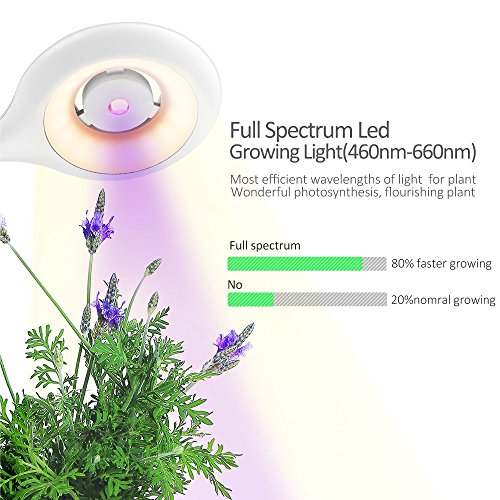 LED Grow Light 20W & Table Lamps, Relassy Eye-Caring Table Light & Full Spectrum Desk Lamp, Touch Control with Hydroponic Pot/USB Charging Port/Air Circulation Fan, for Bedrooms&Office, White