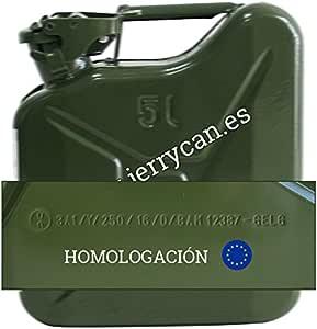 JERRY CAN, BIDON METALICO 5L VERDE MILITAR - - HOMOLOGADO