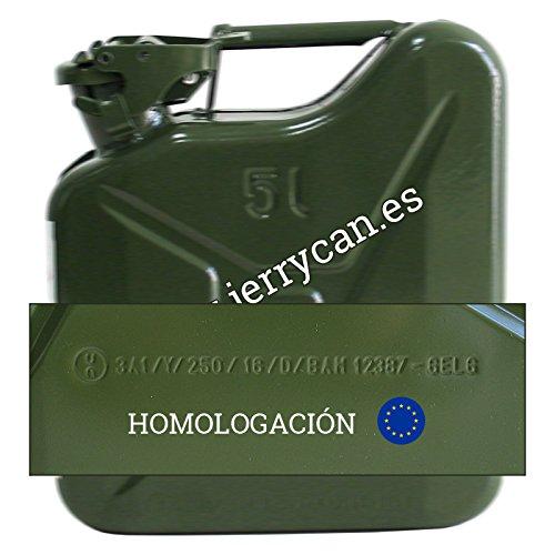 JERRY CAN SPP//JC5V - HOMOLOGADO PARA EL TRANSPORTE DE GASOLINA BIDON METALICO 5L VERDE MILITAR