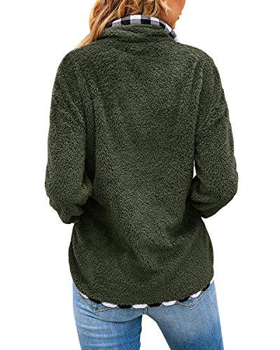 Yanekop Womens Fuzzy Fleece Pullover Plaid Print Sherpa Sweatshirt Button Collar Tops with Pockets
