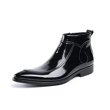 Hombre Botas Tobillo Chelsea Zapatos de Cuero Botines Vaquero Pantorrilla Botas de Moto Puntiagudo Clásico Negro Noche Partido Vestido: Amazon.es: Deportes ...