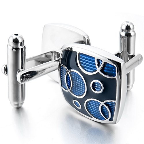 INBLUE Rhodium Cufflinks Wedding Business