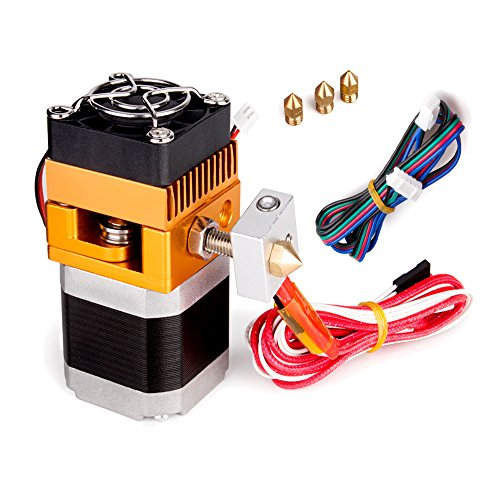 All Metal MK8 Extruder, 3D Printer Extruders Hotend Kit with 0.2/0.3/0.4/0.5mm Nozzle Print Head for MakerBot Prusa i3 Reprap 3D Printer 1.75mm Filament Supported by MYSWEETY