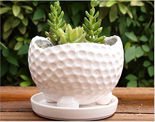 Ceramic Pure White Home/Garden Flower Planter Pot - Outside Golf Ball Design