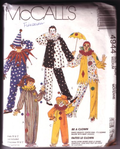 McCall's 4944 Adult Clown Costume Patterns Size Medium (36-38) (Clown Costume Patterns)
