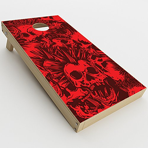 Skin Decal Vinyl Wrap for Cornhole Game Board Bag Toss (2xpcs.) Skins Stickers Cover / Red Punk Skulls Liberty Spikes