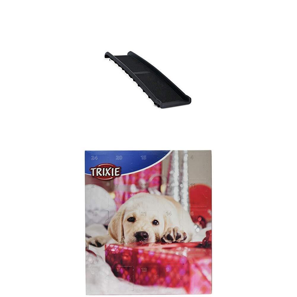 Dibea DR00890 Hunderampe klappbare Kunststoff Hundetreppe mit Anti-Rutsch-Belag leichte Auto Kofferraum Rampe schwarz + Adventskalender fü r Hunde