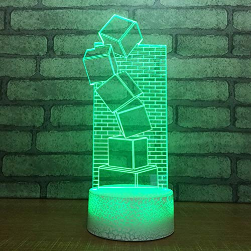 HRUIHKV Baby Sleep Night Light Creative 7 Colorful 3D LED Building Blocks Square Table Lamp Lighting Fixture Kids Toy Gifts Bedside Decor