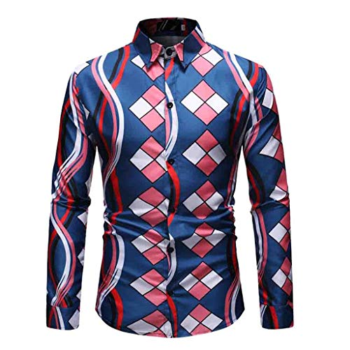 Outique Men's Floral Shirt Long Sleeve 70s Printed Casual Button Down Dress Shirts Prom Wedding Party Tops Blouse Blue ()